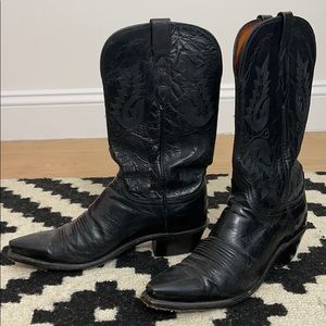 Lucchese Women's Black Goat Snip Toe Western Boots
